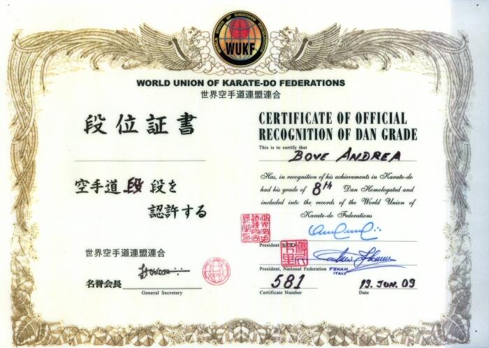 Certificato World Union Karate-Do Federation maestro Andrea Bove