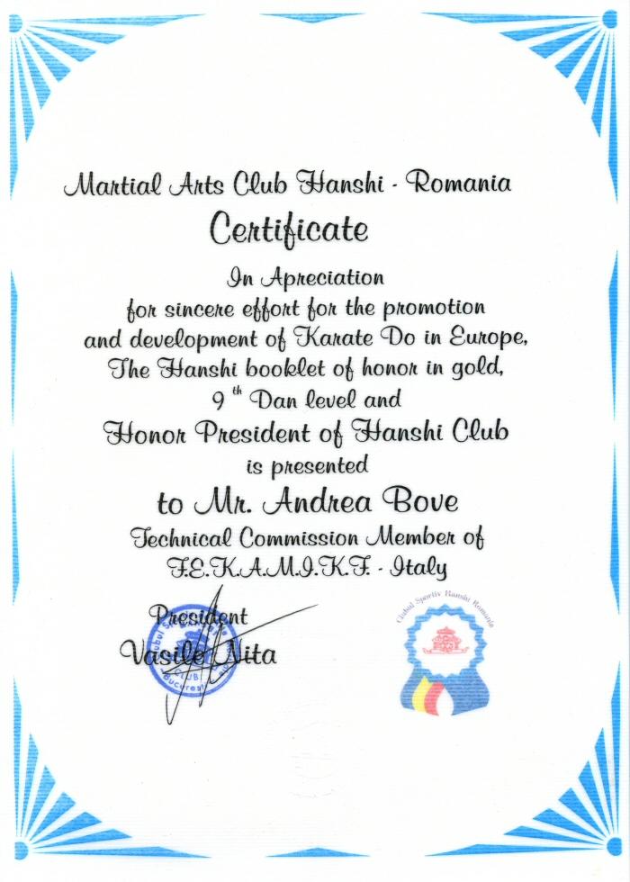 Certificato Karate-Do Romania maestro Andrea Bove