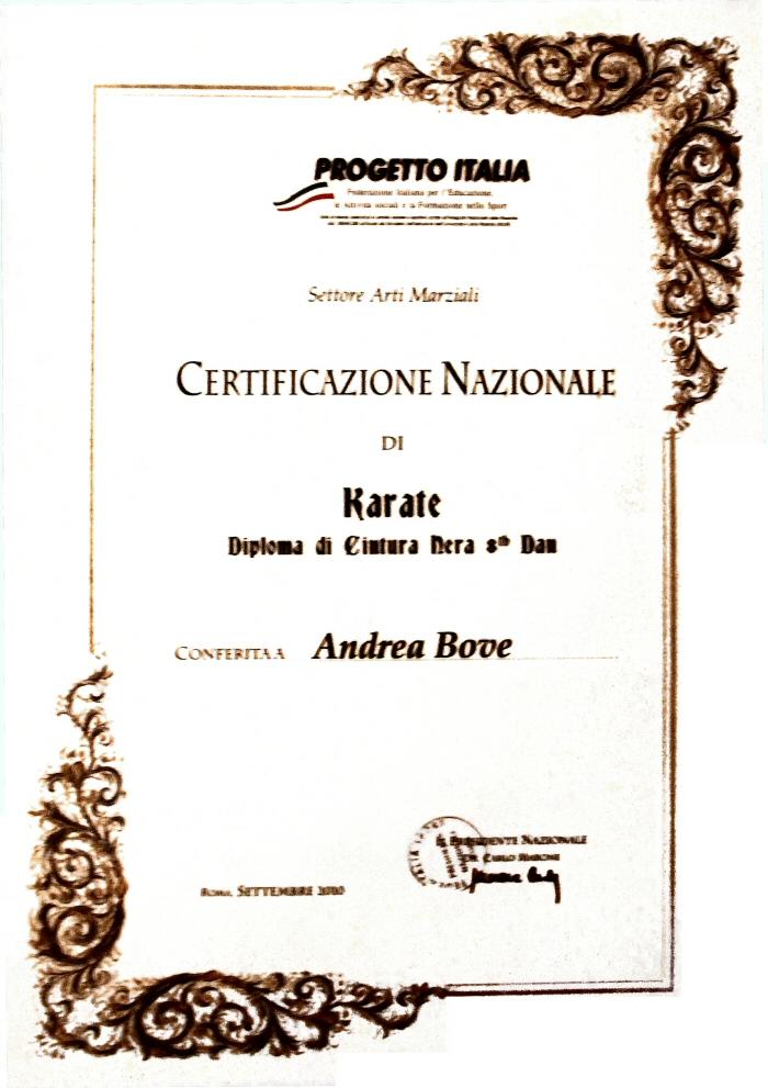 Progetto Italia Karate maestro Andrea Bove