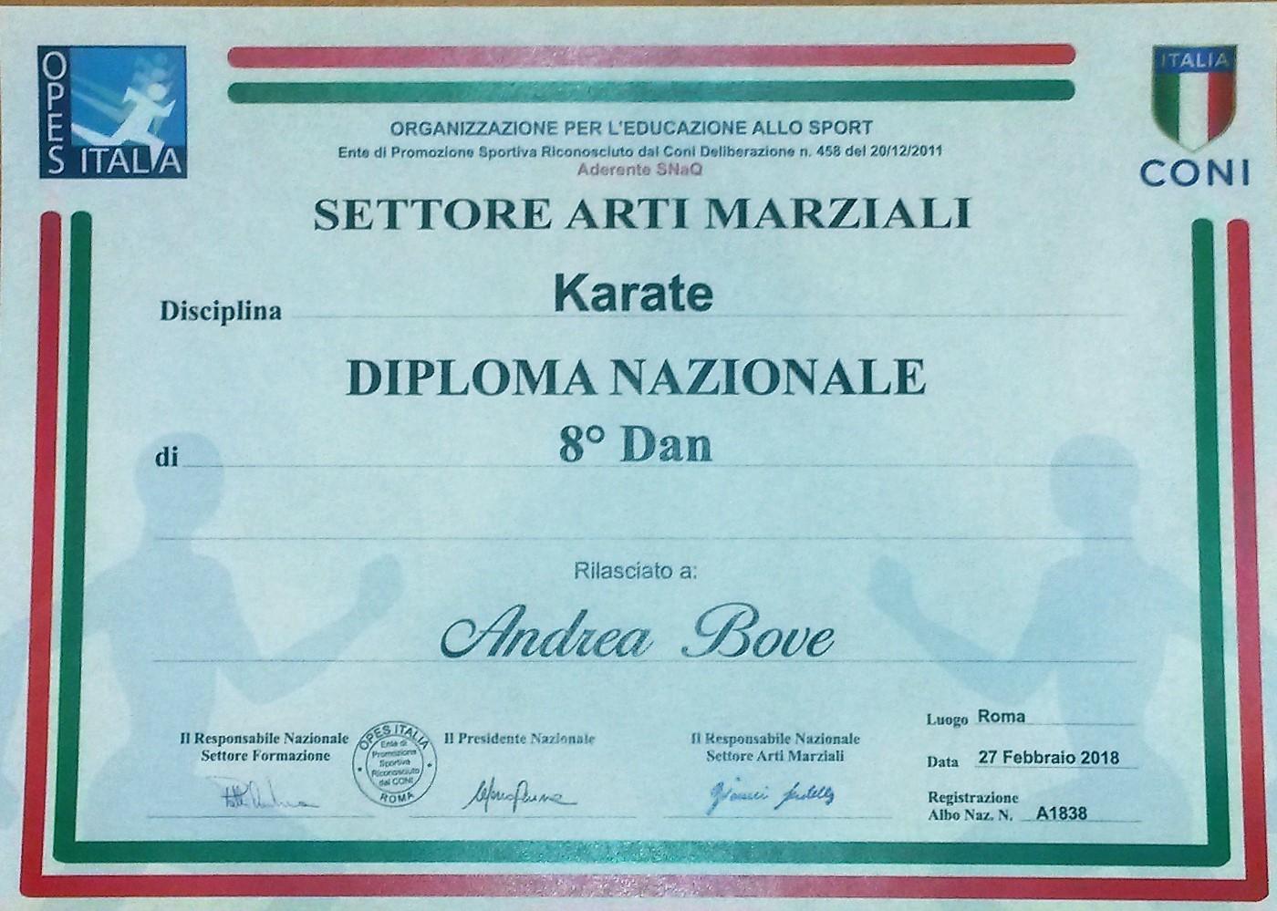 Maestro Andrea Bove 8° Dan Karate OPES