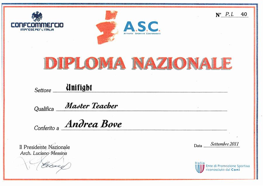 Dimploma Istruttore Unifight - Andrea Bove