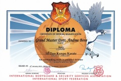 Diploma ibssa isf grand master andrea bove karate kenpo 10 dan