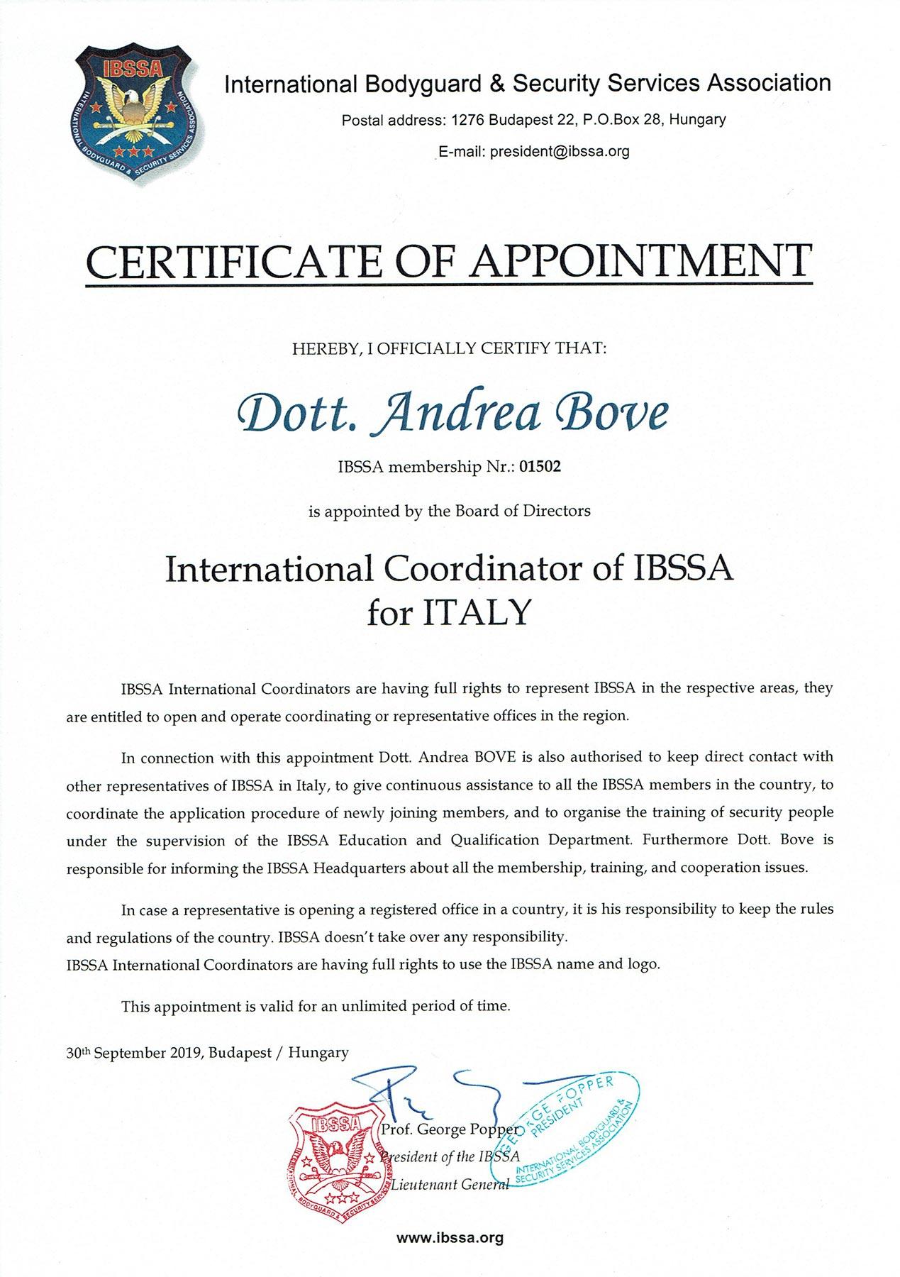 Andrea Bove Coordinatore Internazionale IBSSA Italia